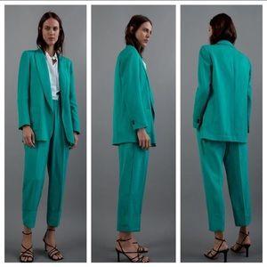 NWT. Zara Turquoise Long Blazer. Size S.
